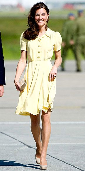 SUNSHINE STATEFor the Duchess of Cambridge's trip to Calgary, she ditches her neutral palette for a lemon-yellow Jenny Packham dress, paired with the L.K. Bennett clutch and heels she's been sporting throughout the trip.