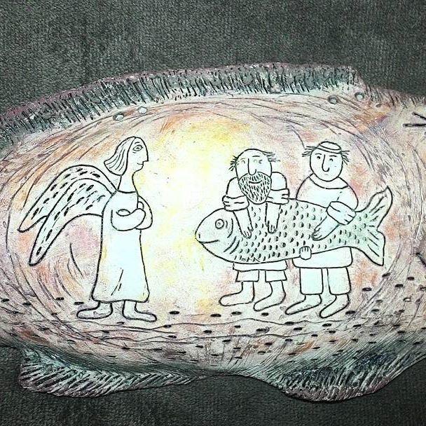 По мотивам мультфильма Михаила Алдашина #рождество #керамика #ручнаяработа  #керамическаярыба #ангоб #глина