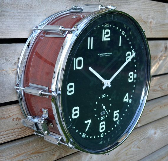 Wood Grain Snare Drum Clock by TimeBeats on Etsy