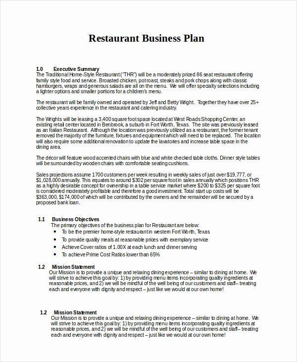 Free Restaurant Business Plan Template Luxury Business Plan Template Free Restaur In 2021 Restaurant Business Plan Restaurant Business Plan Sample Business Plan Layout