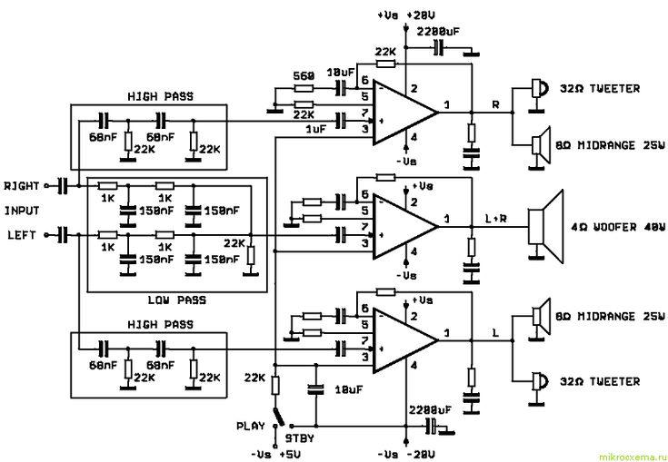 subwoofer amplifier circuit   Subwoofer amplifier, Audio ...