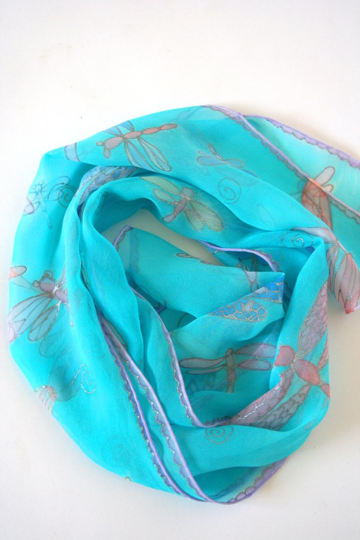 Dragonfly scarf , mint scarf , hand painted scarf by silkiness on Etsy