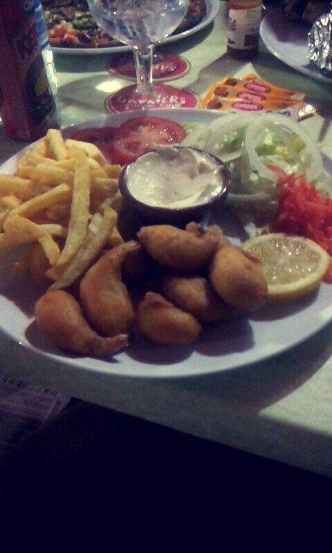 Prawns and dip meal. Dukes Bar in Mallorca. Great place for a big tasty meal at a cheap price.