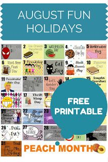 FREE Printable Stickers for your Planner: Fun & wacky August Holidays: every day in August has a holiday! Get it now as a PDF file or Silhouette Cut File download on Uncommon Plans Blog! :)