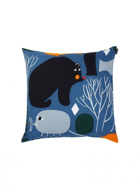 Huhuli pillowcase (blue, yellow, black) |Décor, Living room, Throw pillows | Marimekko