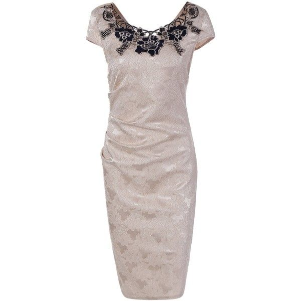 Flower Embroidery Lacework Insert Bodycon Dress ($25) ❤ liked on Polyvore featuring dresses, rosegal, bodycon dress, floral embroidered dress, body conscious dress, brown bodycon dress and flower embroidered dress