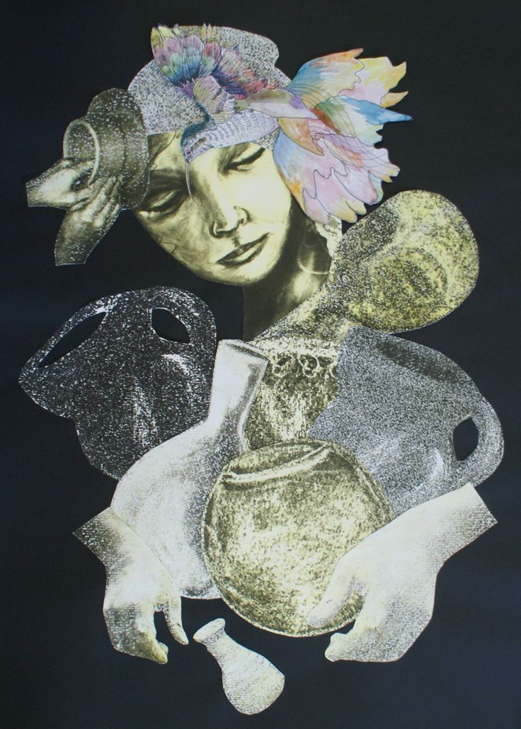 'The Potter' collage on paper, 55cm x 75cm