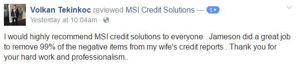 Congratulations on your success Mrs. Tekinkoc! It has been our pleasure assisting you. Check out her results: - 198 total point increase - Almost 100% deletion rate - $4918 in accounts removed No credit blemish is little and there are options to help you increase your credit scores. Have you recently checked your report? For more information regarding our credit repair services, real estate services and lending resources contact us today at 866-217-9841, or visit www.msicredit.com.