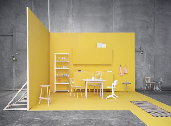 yellowtrace_hay1: Catalogue Style, Yellow Rooms, Yellow Wall, Booths Design, Hay Design, 2012 Catalogue, Stands Design, Danishes Furniture, Sets Design
