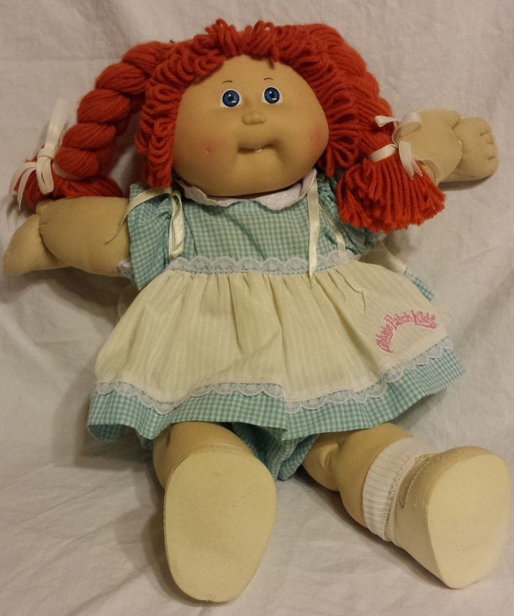 Vintage Cabbage Patch Kids Doll Red Hair Blue Eyes Blue Dress