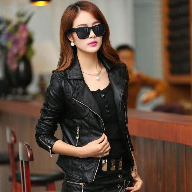 Women's Pu Leather Bikers Jacket with Turn-Down Collar Zipper, available in Brown and Black