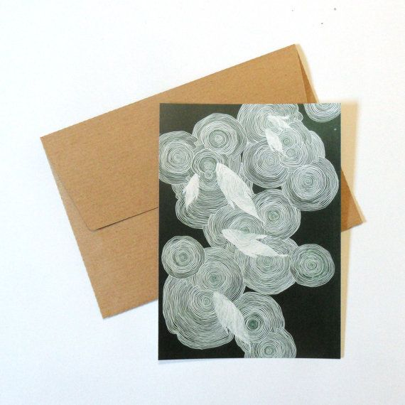 abstract drawing postcard with brown by AnnaGrundulsDesign on Etsy