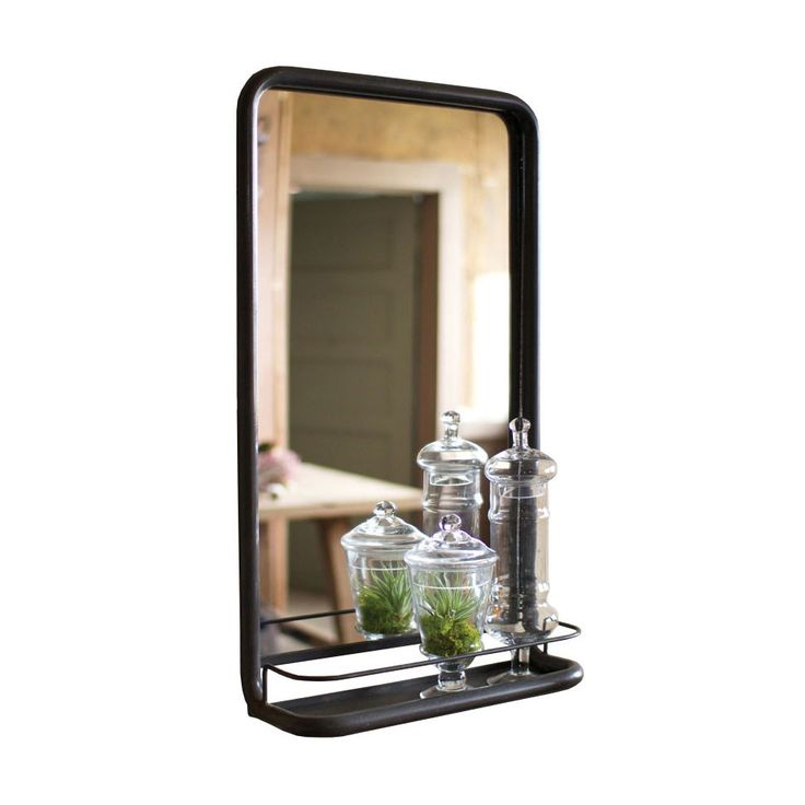the industrial minimalist meets the modern homeowner in the vintage inspired apothecary mirror its metal frame and bottom basket serves its function while