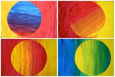 Color theory- Use tempera colors. Trace a circle, cut it out slightly slanted and removed from the original shape- glue together onto construction paper