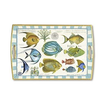 Tropical Fish Rectangle Decoupage Wooden Tray