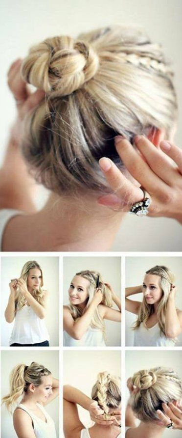 Braids into Updo for Medium Length Hair