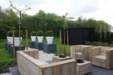 Hi Holly, is the seating made from re used scaffold boards and are there any plans for the dimensions you cou - Houzz