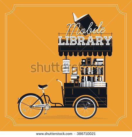 Lovely vector Mobile Library bicycle cart vintage background. Portable book bike trailer cart on wheels with stacked books, awning and sign. Book market or fair decorative item