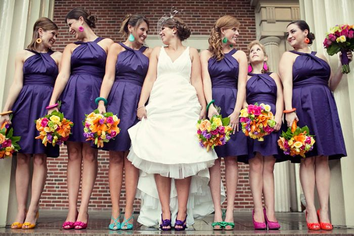 Bridesmaids Colorful Wedding Shoes - each could pick out a color from the bouquet