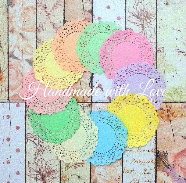 """4 1/8"""" French Pastry Rainbow Paper Doily. 1 pack of 10 beautiful pastel color. Perfect for any project / creation. by PaperCraftwithLove on Etsy"""