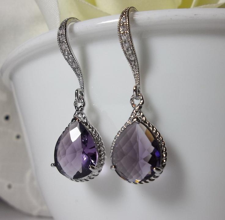 Beautiful Purple Amethyst colored Earrings - Sterling Silver Earwires - Elegant Bridal Jewelry - February's birthstone -. $27.99, via Etsy.