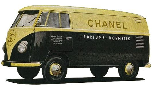 V DUB/Chanel Colaboration??? Of Course!!!!  Volkswagen split-window logo buses from Volkswagen's original dealer book.