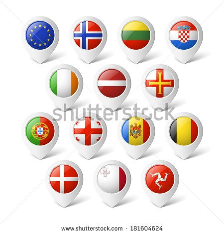 Map pointers with flags. Europe.