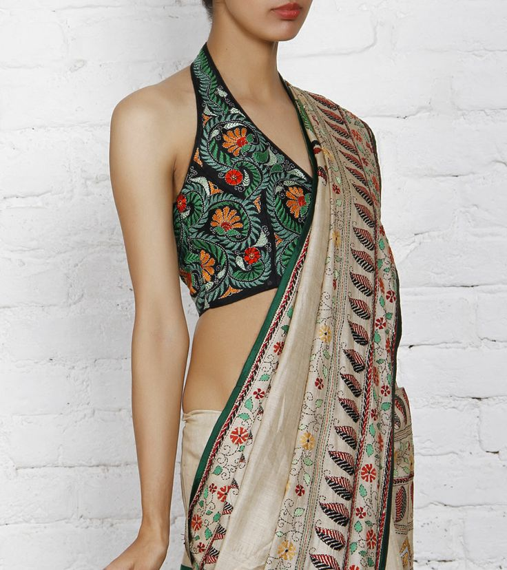 Black Silk Blouse with Kantha Embroidery