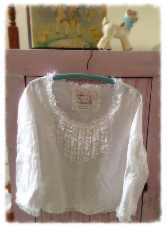Pure Linen Tunic Top Shirt Shabby Chic White Womens M-L ...