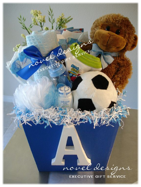 Personalized Baby Boy Blue Gift Basket.