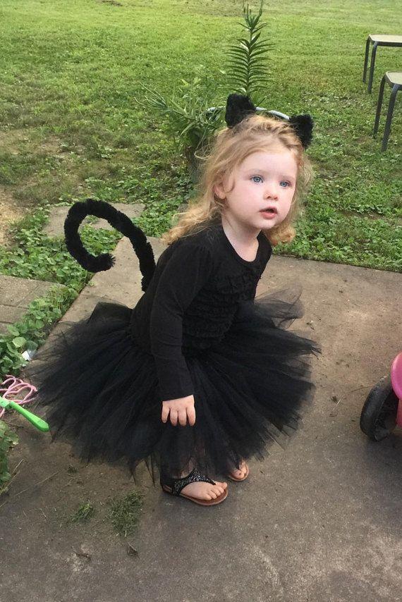 Black Cat Costume  Halloween Girls Costume  Black by ChachaTutu