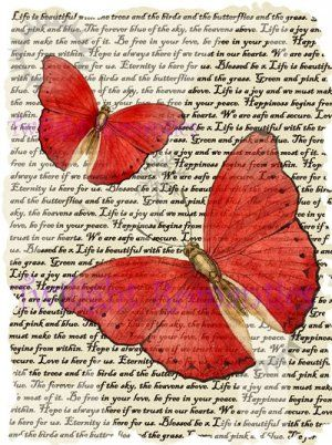 Crimson Red Butterfly Vintage Art Print 12x8 FREE SHIPPING shabby chic