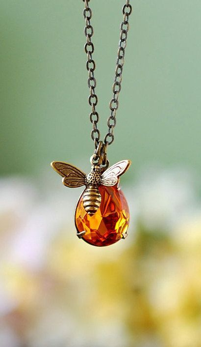 Bee and honey drop necklace. Antique Gold Brass Bee Topaz Glass Pendant Necklace, November Birthstone, Bee Jewelry, Gift for Bee Lover's