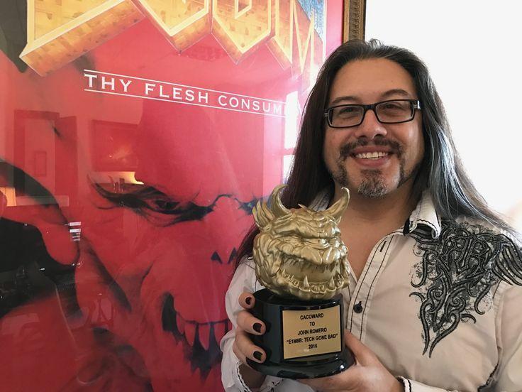 John Romero with a real Cacoward (DooM mapping award) http://ift.tt/2hrn3Wd