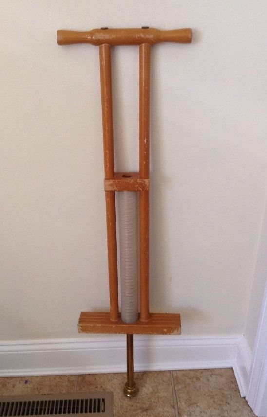"41"" Vintage Wooden Pogo Stick Copper Brass Rubber Base #Unbranded"