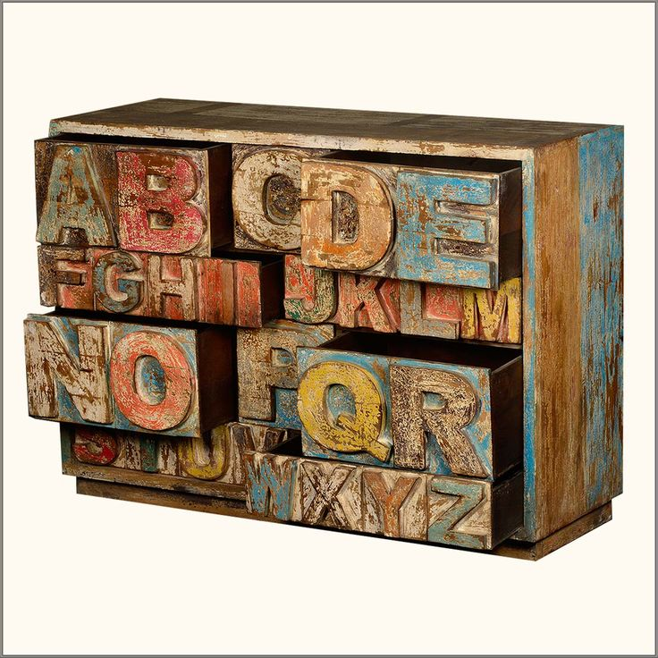 Hand Carved ABC Reclaimed Wood 10 Drawer Chest Storage Cabinet
