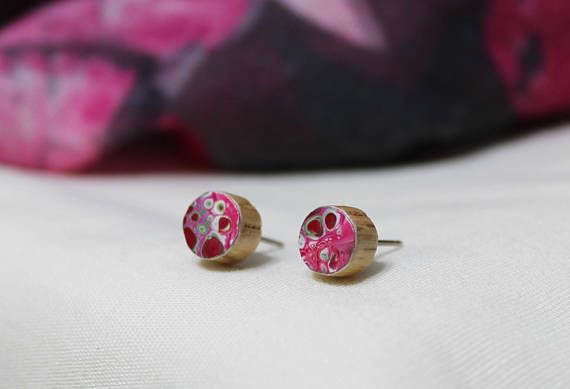 Red White and Pink Fluid Painting Art Wood Stud Earrings