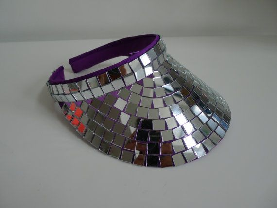 Items similar to Disco Ball Sun Visor mirror Ball fancy dress Festival wear. Add to your costume! on Etsy