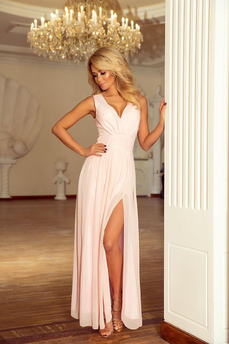 Szyfonowa Sukienka Maxi z Rozcięciem Brzoskiwnia NU166-4