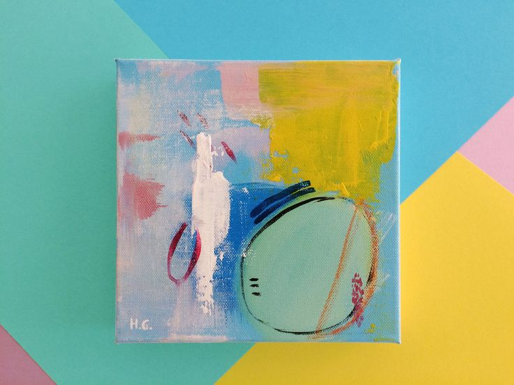 Colourful Small Painting Acrylic, Abstract Acrylic Painting, Pastel Colors Painting, Abstract Art, Mini Canvas, Small Abstract Painting by HolaGabrielle on Etsy