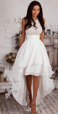 Lace Sleeveless O-neck Irregular Party Dress
