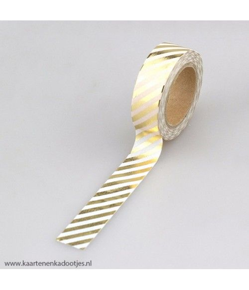 Metallic washi tape wit met gouden strepen