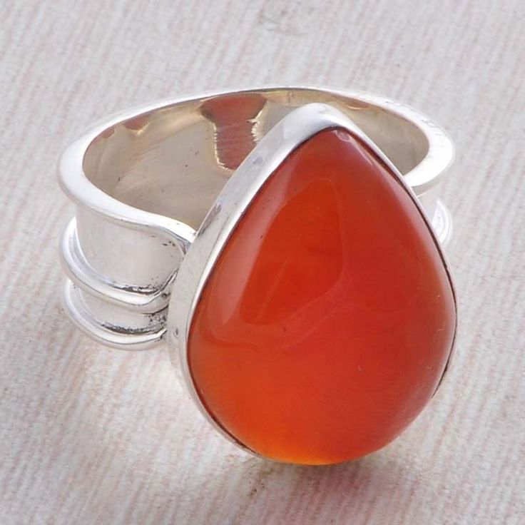 EXCLUSIVE 925 STERLING SILVER RED ONYX CAB STONE 7.45g RING R030904 #Handmade #RING