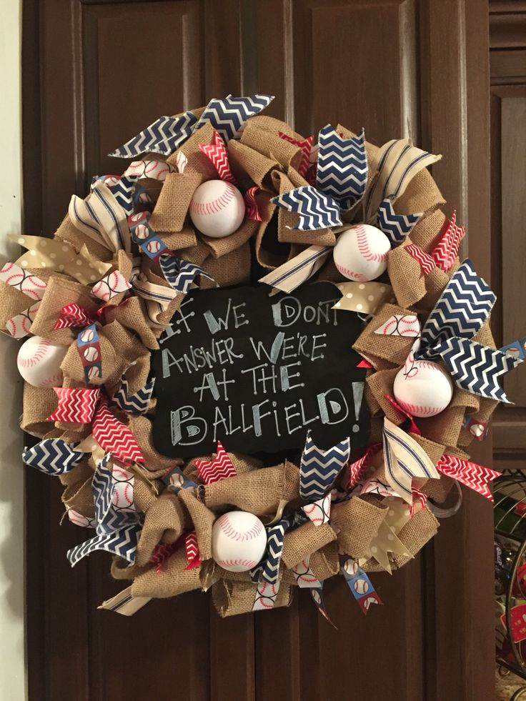 Baseball themed wreath for all your baseball families.