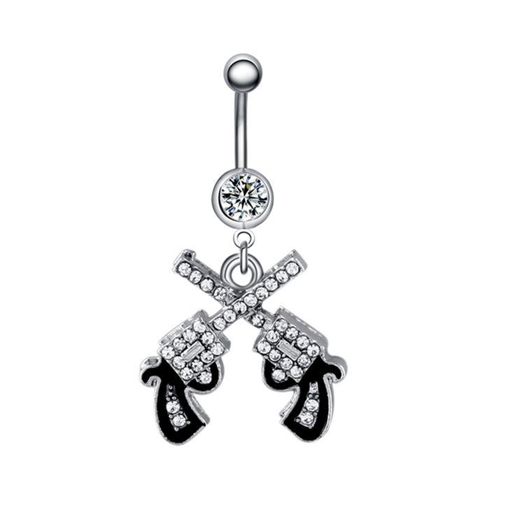 Swan Jo 1Pc 14G Double Gun Crystal Dangle Belly Button Rings Ombligo Navel Piercing Body Jewelry Pircing Ombligo Umbigo Pirsings