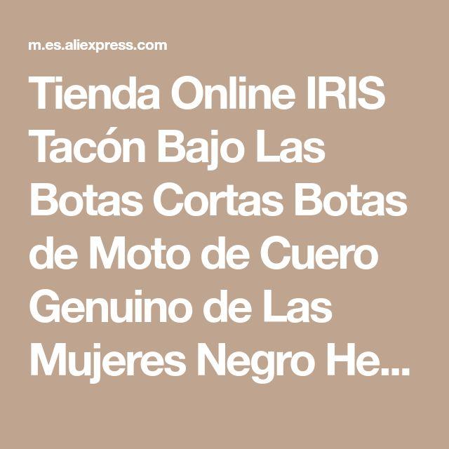 Tienda Online IRIS Tacón Bajo Las Botas Cortas Botas de Moto de Cuero Genuino de Las Mujeres Negro Hecho A Mano de Alta Calidad Plana Botines Mujer 2017 Nuevo | Aliexpress móvil