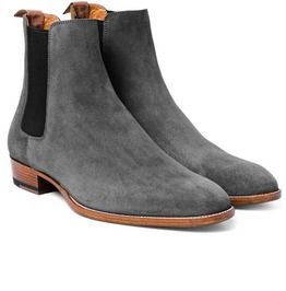 Handmade Men's Fashion Gray Chelsea Boots, Men Gray Chelsea Suede Boot