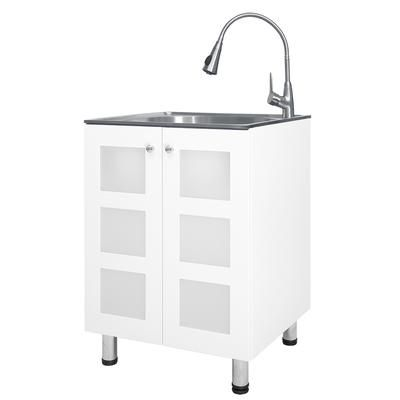 Presenza Utility Cabinet With Sink And Faucet Stainless Steel Ql025 Home Depot