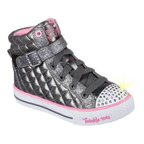 Girls' Skechers Twinkle Toes Shuffles Sweetheart Sole High Top Gun (Grey) (US Girls' (Regular)), Girl's (, lic)