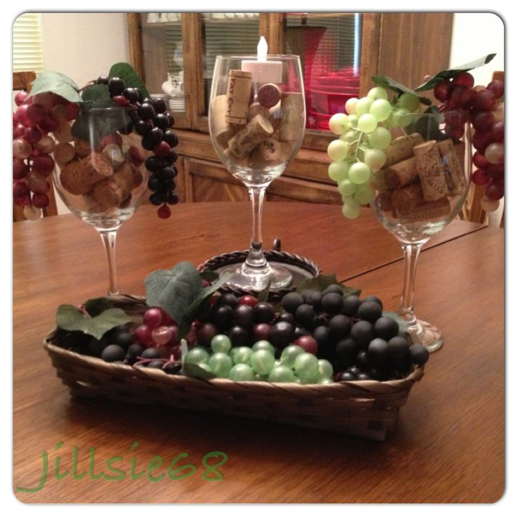 nice Wine Decor For Kitchen #9: Dollar Tree wine themed decorations...just added wine corks from home. Cute  for the kitchen.